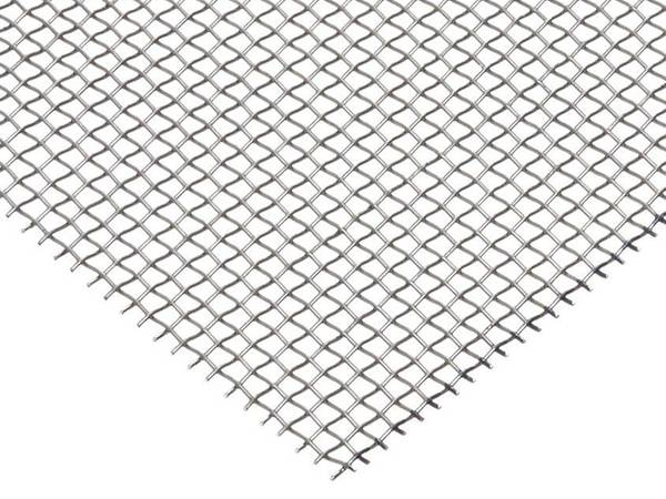 A piece of aluminum wire mesh with mill finish