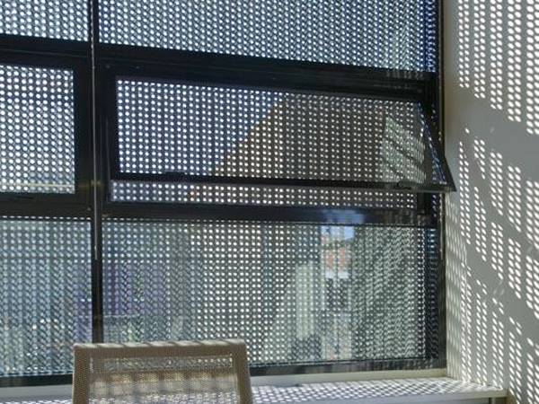 Black aluminum perforated mesh used as window screen