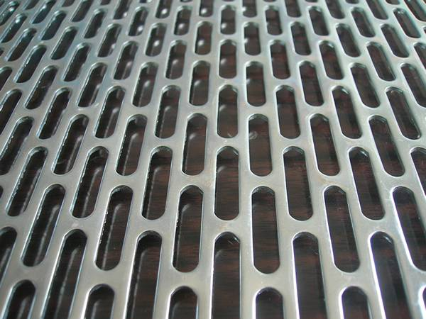 Perforated aluminum metal sheet with long oval holes